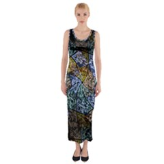 Multi Color Tile Twirl Octagon Fitted Maxi Dress