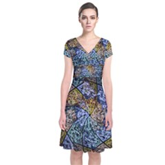 Multi Color Tile Twirl Octagon Short Sleeve Front Wrap Dress