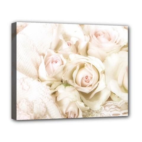 Pastel Roses Antique Vintage Deluxe Canvas 20  X 16