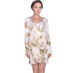 Pastel Roses Antique Vintage Long Sleeve Nightdress