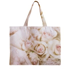 Pastel Roses Antique Vintage Zipper Mini Tote Bag