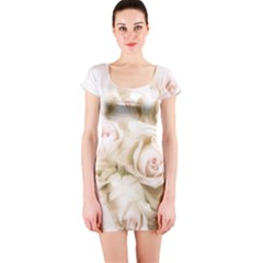 Pastel Roses Antique Vintage Short Sleeve Bodycon Dress