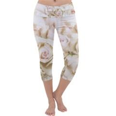 Pastel Roses Antique Vintage Capri Yoga Leggings