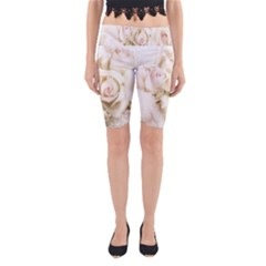 Pastel Roses Antique Vintage Yoga Cropped Leggings