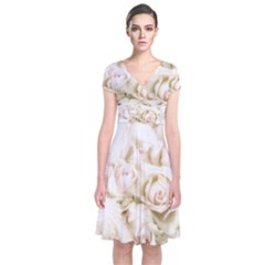 Pastel Roses Antique Vintage Short Sleeve Front Wrap Dress