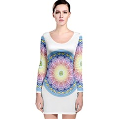 Mandala Universe Energy Om Long Sleeve Velvet Bodycon Dress