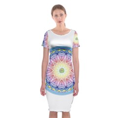 Mandala Universe Energy Om Classic Short Sleeve Midi Dress