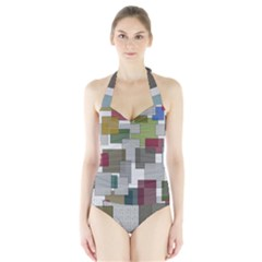 Decor Painting Design Texture Halter Swimsuit