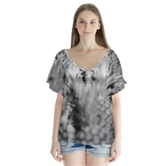 Pineapple Market Fruit Food Fresh V Neck Flutter Sleeve Top