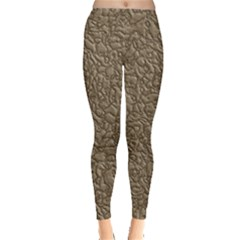 Leather Texture Brown Background Leggings