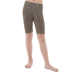 Leather Texture Brown Background Kids  Mid Length Swim Shorts