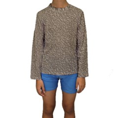 Leather Texture Brown Background Kids  Long Sleeve Swimwear