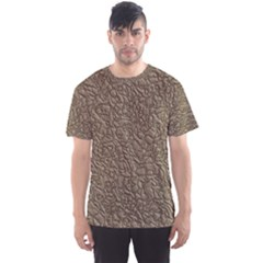 Leather Texture Brown Background Men s Sports Mesh Tee
