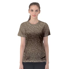 Leather Texture Brown Background Women s Sport Mesh Tee
