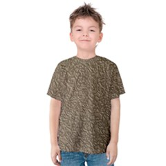 Leather Texture Brown Background Kids  Cotton Tee