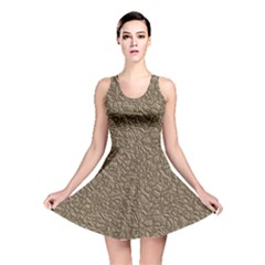 Leather Texture Brown Background Reversible Skater Dress