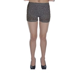 Leather Texture Brown Background Skinny Shorts