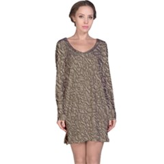 Leather Texture Brown Background Long Sleeve Nightdress