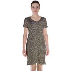 Leather Texture Brown Background Short Sleeve Nightdress