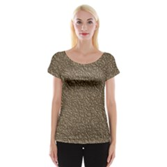 Leather Texture Brown Background Cap Sleeve Tops
