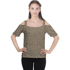 Leather Texture Brown Background Cutout Shoulder Tee