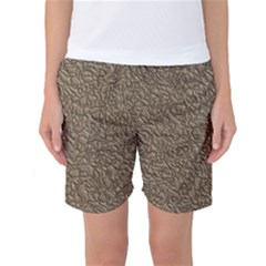 Leather Texture Brown Background Women s Basketball Shorts