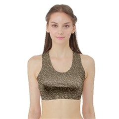 Leather Texture Brown Background Sports Bra With Border