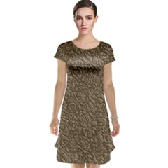 Leather Texture Brown Background Cap Sleeve Nightdress
