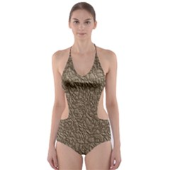 Leather Texture Brown Background Cut Out One Piece Swimsuit