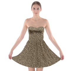 Leather Texture Brown Background Strapless Bra Top Dress