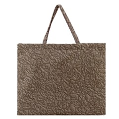 Leather Texture Brown Background Zipper Large Tote Bag