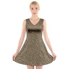 Leather Texture Brown Background V Neck Sleeveless Skater Dress