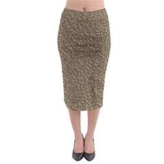 Leather Texture Brown Background Midi Pencil Skirt