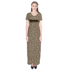 Leather Texture Brown Background Short Sleeve Maxi Dress