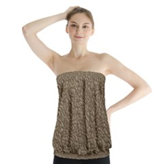 Leather Texture Brown Background Strapless Top