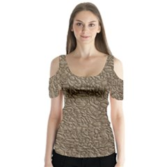 Leather Texture Brown Background Butterfly Sleeve Cutout Tee