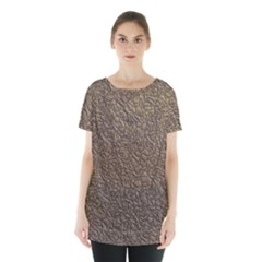 Leather Texture Brown Background Skirt Hem Sports Top