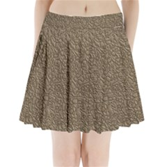 Leather Texture Brown Background Pleated Mini Skirt