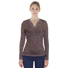 Leather Texture Brown Background V Neck Long Sleeve Top