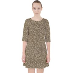 Leather Texture Brown Background Pocket Dress