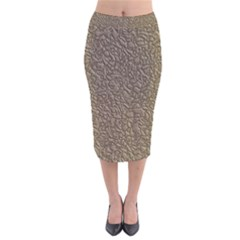 Leather Texture Brown Background Velvet Midi Pencil Skirt
