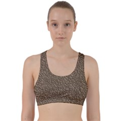 Leather Texture Brown Background Back Weave Sports Bra