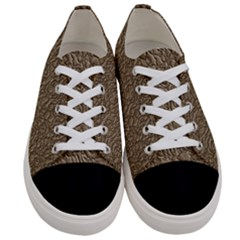 Leather Texture Brown Background Women s Low Top Canvas Sneakers