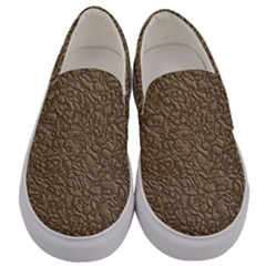 Leather Texture Brown Background Men s Canvas Slip Ons