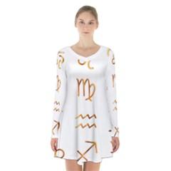 Signs Of The Zodiac Zodiac Aries Long Sleeve Velvet V Neck Dress