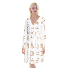 Signs Of The Zodiac Zodiac Aries Long Sleeve Velvet Front Wrap Dress