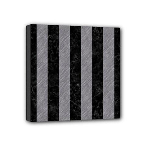 Stripes1 Black Marble & Gray Colored Pencil Mini Canvas 4  X 4