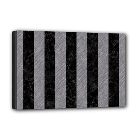 Stripes1 Black Marble & Gray Colored Pencil Deluxe Canvas 18  X 12