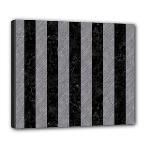 Stripes1 Black Marble & Gray Colored Pencil Deluxe Canvas 24  X 20