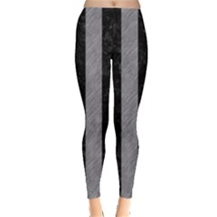 Stripes1 Black Marble & Gray Colored Pencil Leggings